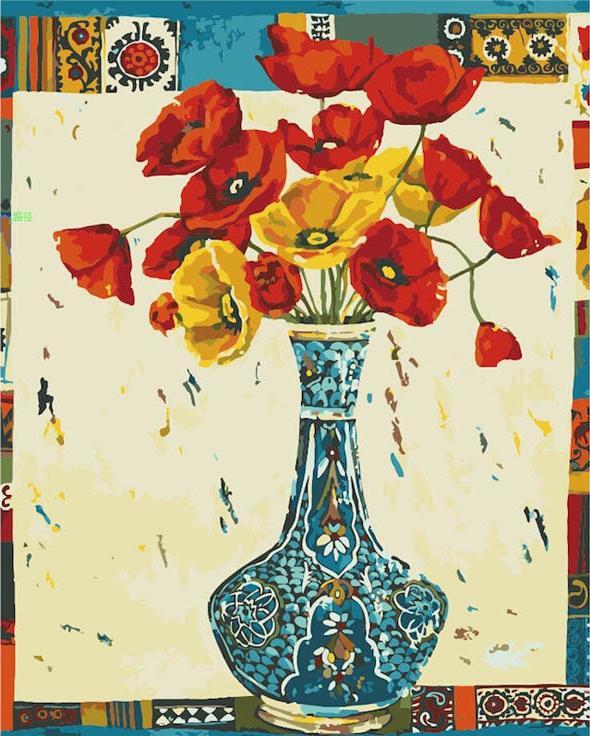 «Чудесный букет» Махтаб АлизадеЦветной (Premium)<br><br><br>Артикул: MG343_Z<br>Основа: Холст<br>Сложность: сложные<br>Размер: 40x50 см<br>Количество цветов: 25<br>Техника рисования: Без смешивания красок