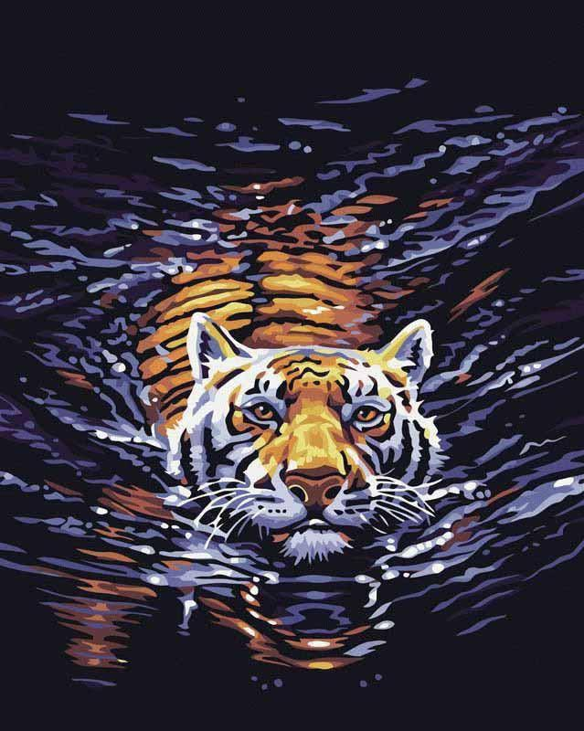 В водеЦветной (Premium)<br>Картина по номерам «В воде» отлично подойдет для украшения кабинета начальника ли гостиной дома. Благодаря главному герою сюжета – тигру, полотно приобретает философский смысл. Это животное, согласно фэн-шуй, является символом главы дома, нейтрализует нег...<br><br>Артикул: MG308_Z<br>Основа: Холст<br>Сложность: сложные<br>Размер: 40x50<br>Количество цветов: 16<br>Техника рисования: Без смешивания красок