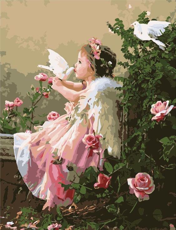 Купить Картина по номерам «Поцелуй ангела» Лизы Джейн, Цветной (Premium), Россия