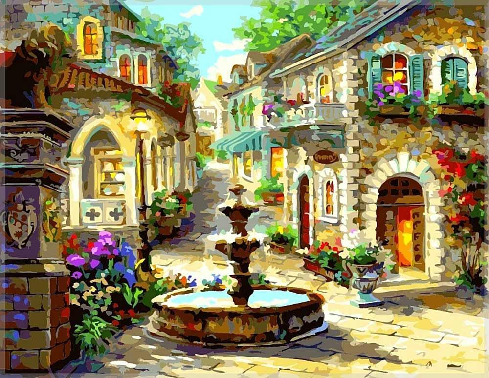 Картина по номерам «Фонтан» Ники БоэмЦветной (Premium)<br><br><br>Артикул: MG532_Z<br>Основа: Холст<br>Сложность: сложные<br>Размер: 40x50 см<br>Количество цветов: 25<br>Техника рисования: Без смешивания красок