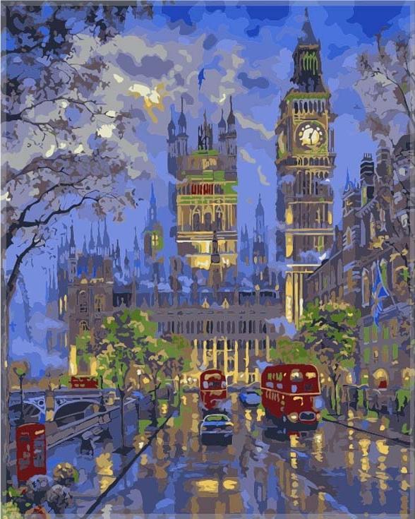 Картина по номерам «Вестминстерский дворец, Лондон» Роберта ФайнэлаЦветной (Premium)<br><br><br>Артикул: MG546_Z<br>Основа: Цветной холст<br>Сложность: сложные<br>Размер: 40x50 см<br>Количество цветов: 25<br>Техника рисования: Без смешивания красок