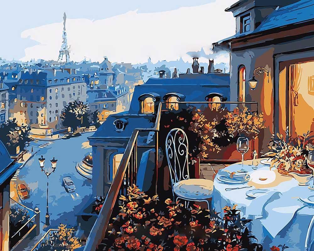 «Парижский балкон» Евгени ЛушпинаЦветной (Premium)<br><br><br>Артикул: MG548_Z<br>Основа: Холст<br>Сложность: сложные<br>Размер: 40x50 см<br>Количество цветов: 25<br>Техника рисовани: Без смешивани красок