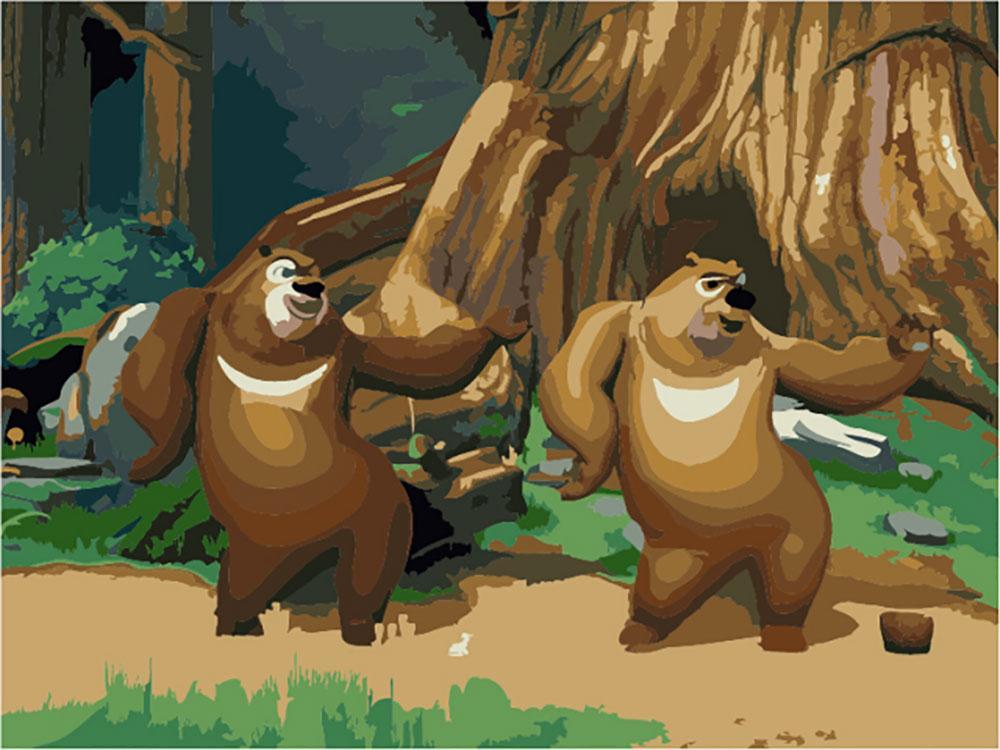 «Два медведя»Цветной (Premium)<br><br><br>Артикул: MG560_Z<br>Основа: Холст<br>Сложность: сложные<br>Размер: 40x50<br>Количество цветов: 25<br>Техника рисования: Без смешивания красок