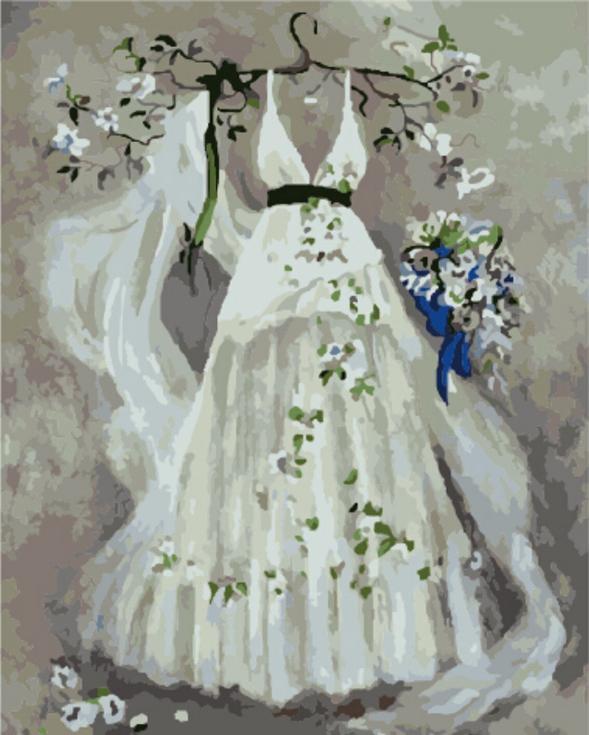 Картина по номерам «Свадебное платье» Сьюзан РиосЦветной (Premium)<br><br><br>Артикул: MG572_Z<br>Основа: Холст<br>Сложность: сложные<br>Размер: 40x50 см<br>Количество цветов: 25<br>Техника рисования: Без смешивания красок