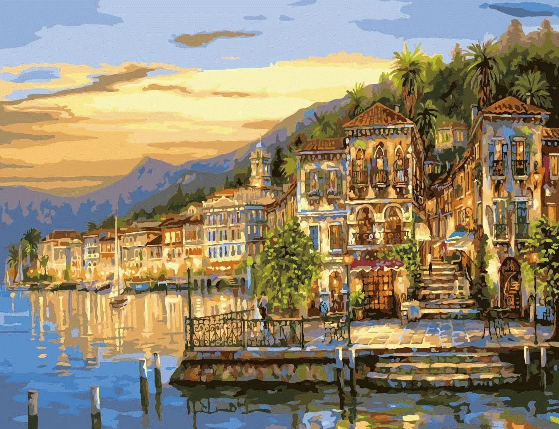 «Золотые лучи заката» Роберта ФайнэлаЦветной (Premium)<br>Картина по номерам, на которой изображен Белладжио, красивейший городок на берегу живописного озера Комо (Италия), станет жемчужиной в коллекции картин, украшающих интерьер дома. Роберт Файнэл смог передать не борьбу дня и ночи, а нежный переход, настоящи...<br><br>Артикул: MMC017_Z<br>Основа: Холст<br>Сложность: очень сложные<br>Размер: 50x65 см<br>Количество цветов: 27<br>Техника рисования: Без смешивания красок