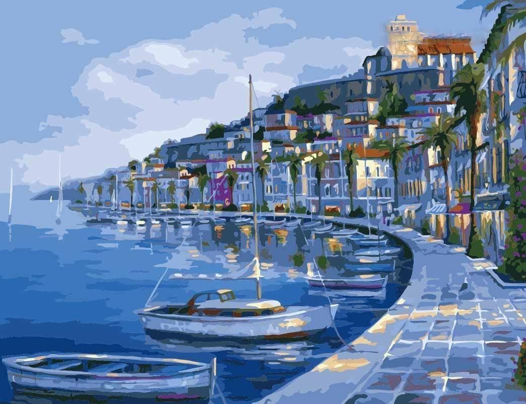 """«Бухта покоя» Роберта ФайнэлаЦветной (Premium)<br>На картине по номерам """"Бухта покоя"""" Роберт Файнэл прекрасно передал красоту Ибицы, известного испанского острова-курорта. Одноименная столица Ибицы всегда полна весельем и музыкой, которая звучит из множества клубов и на всевозможных дискотеках, но если е...<br><br>Артикул: MMC019_Z<br>Основа: Холст<br>Сложность: средние<br>Размер: 50x65 см<br>Количество цветов: 25<br>Техника рисования: Без смешивания красок"""