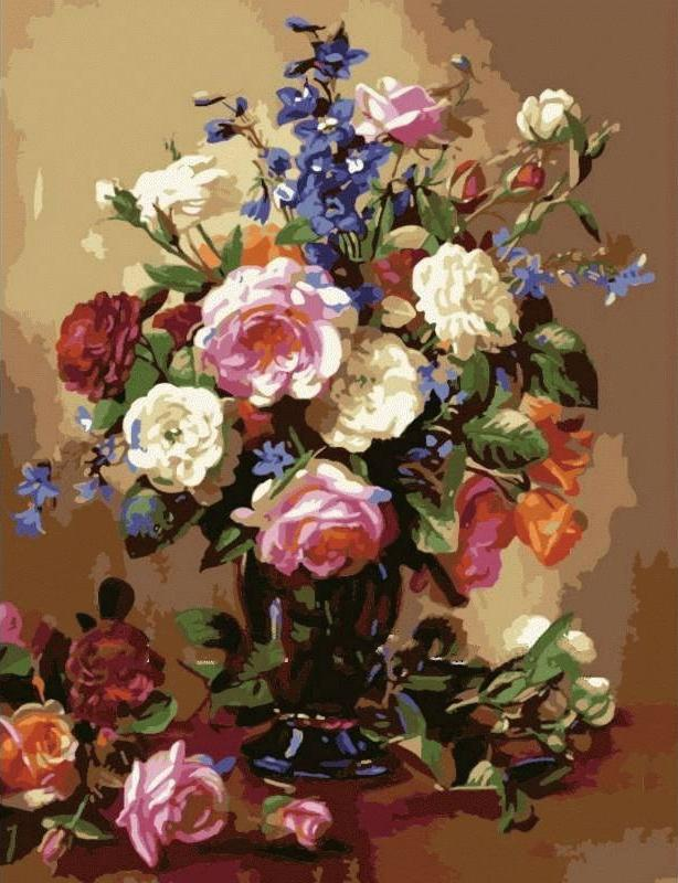 «Украшение дома» Альберта УильямсаЦветной (Premium)<br>Цветы в доме всегда создают особенную атмосферу, поэтому многие любят украшать интерьер цветочными композициями. Букет цветов - это универсальный подарок и для мужчины, и для женщины. Но, как бы ни были хороши живые цветы, их век недолог. В отличие от сре...<br><br>Артикул: MMC038_Z<br>Основа: Холст<br>Сложность: средние<br>Размер: 50x65<br>Количество цветов: 25<br>Техника рисования: Без смешивания красок