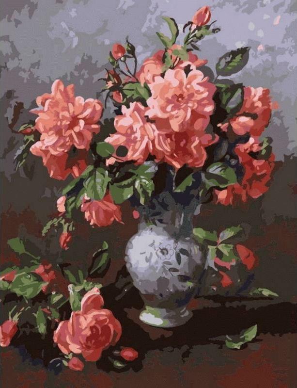 «Розы в вазе» Альберта УильямсаЦветной (Premium)<br><br><br>Артикул: MMC042_Z<br>Основа: Холст<br>Сложность: сложные<br>Размер: 50x65<br>Количество цветов: 25<br>Техника рисования: Без смешивания красок