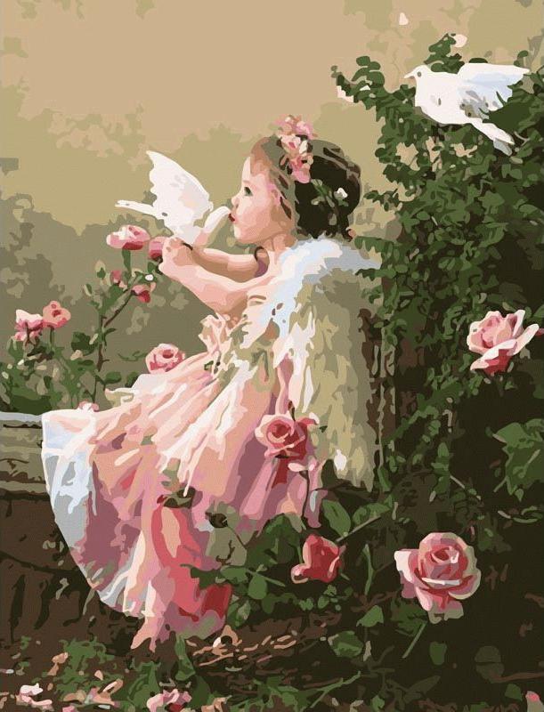 Картина по номерам «Поцелуй ангела» Лизы ДжейнЦветной (Premium)<br>Поцелуй ангела<br><br>Артикул: MMC044_Z<br>Основа: Холст<br>Сложность: сложные<br>Размер: 50x65 см<br>Количество цветов: 25<br>Техника рисования: Без смешивания красок