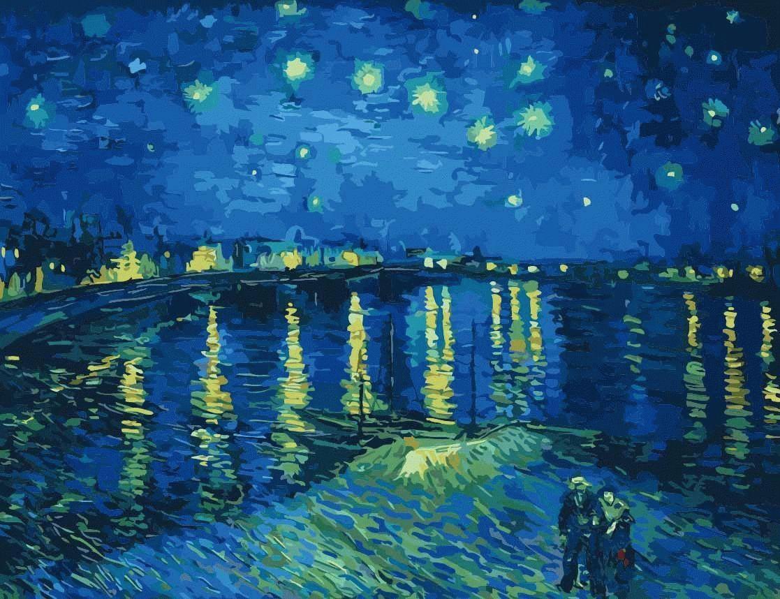 Картина по номерам «Звезды над водой» Ван ГогаЦветной (Premium)<br>«Звезды над водой» Ван Гога - это картина-раскраска по номерам, на которой художник изобразил саму вечность, ведь и вода, и яркое созвездие Большой Медведицы как раз и являются ее символами. Библиографы утверждают, что Ван Гог писал эту картину с натуры, ...<br><br>Артикул: MMC056_Z<br>Основа: Холст<br>Сложность: сложные<br>Размер: 50x65 см<br>Количество цветов: 25<br>Техника рисования: Без смешивания красок