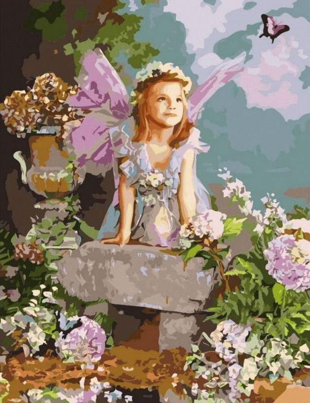 Картина по номерам «Весенний ангел»Цветной (Premium)<br><br><br>Артикул: MMC064_Z<br>Основа: Холст<br>Сложность: сложные<br>Размер: 50x65 см<br>Количество цветов: 25<br>Техника рисования: Без смешивания красок