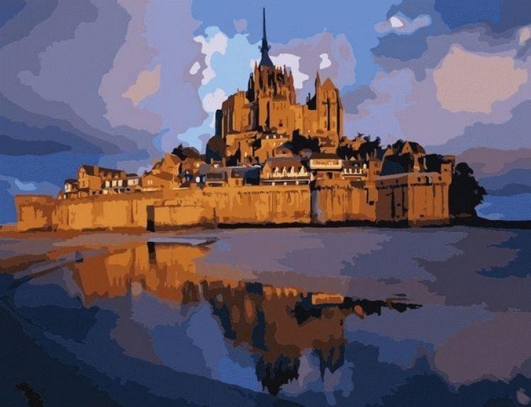 «Замок Сен Мишель»Цветной (Premium)<br><br><br>Артикул: MMC079_Z<br>Основа: Холст<br>Сложность: сложные<br>Размер: 50x65 см<br>Количество цветов: 25<br>Техника рисования: Без смешивания красок