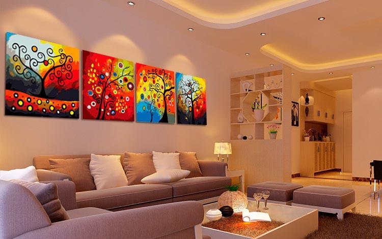 Дерево счастья. КвартетЦветной (Premium)<br><br><br>Артикул: MMM4003_Z<br>Основа: Холст<br>Сложность: сложные<br>Размер: 4 шт. 50x50 см<br>Количество цветов: 25<br>Техника рисования: Без смешивания красок