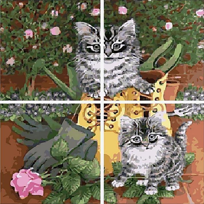 Картина по номерам «Озорные котята»Цветной (Premium)<br><br><br>Артикул: MMM4013_Z<br>Основа: Холст<br>Сложность: сложные<br>Размер: 50x200 см<br>Количество цветов: 25<br>Техника рисования: Без смешивания красок