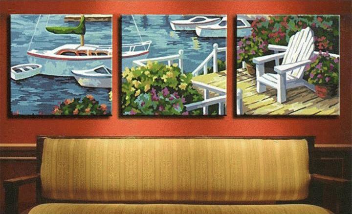 Картина по номерам «На пристани»Цветной (Premium)<br><br><br>Артикул: MT3003_Z<br>Основа: Холст<br>Сложность: средние<br>Размер: 3 шт. 50x50 см<br>Количество цветов: 22<br>Техника рисования: Без смешивания красок