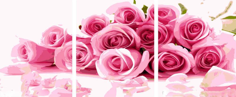 Картина по номерам Цветной (Premium) Россыпь из розовых роз MT3025_Z