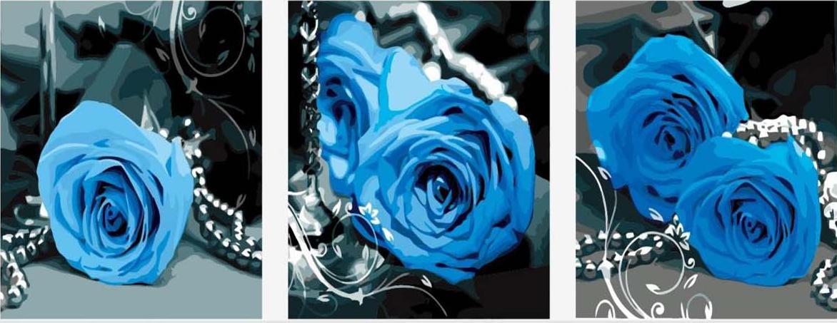 """Синие розыЦветной (Premium)<br>Необычный триптих """"Синие розы"""" сразу привлекает внимание и удивляет нестандартной цветовой гаммой, но вот только изображены на нем не фантастические цветы, а самые настоящие, ведь существуют розы такого цвета и на самом деле. Природа распорядилась таким о...<br><br>Артикул: MT3073_Z<br>Основа: Холст<br>Сложность: сложные<br>Размер: 3 шт. 50x50 см<br>Количество цветов: 21<br>Техника рисования: Без смешивания красок"""