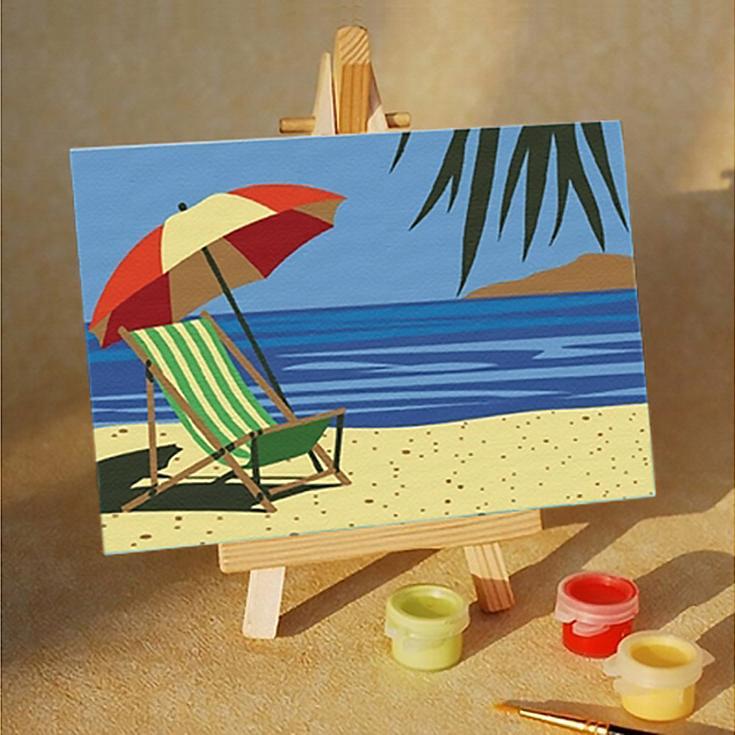 Картина по номерам «Пляж»Цветной (Premium)<br>Пляж<br><br>Артикул: MA012_Z<br>Основа: Картон<br>Сложность: очень легкие<br>Размер: 10x15 см<br>Количество цветов: 5<br>Техника рисования: Без смешивания красок