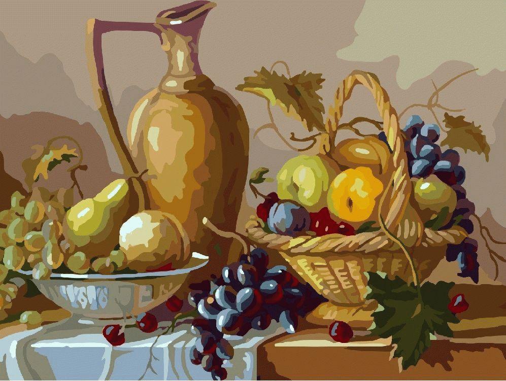 """«Кувшин» Валерия ГукаленкоЦветной (Premium)<br>Настоящее осеннее изобилие картины по номерам """"Кувшин"""" радует взгляд и, благодаря своей реалистичности, вызывает воспоминания об аромате спелых фруктов. Кстати, грозди винограда по фен-шуй являются символом процветания, материального достатка и успеха в д...<br><br>Артикул: MG331_Z<br>Основа: Холст<br>Сложность: сложные<br>Размер: 40x50<br>Количество цветов: 25<br>Техника рисования: Без смешивания красок"""