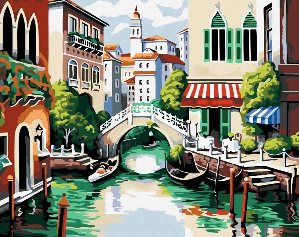 Венецианский пейзажЦветной (Premium)<br>Венецианский пейзаж<br><br>Артикул: MG175_Z<br>Основа: Холст<br>Сложность: средние<br>Размер: 40x50 см<br>Количество цветов: 25<br>Техника рисования: Без смешивания красок