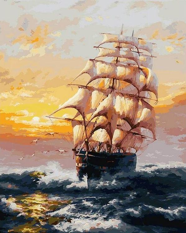 Картина по номерам «Под парусами»Картины по номерам Белоснежка<br>Море бушует, а корабль, гордо подняв все паруса, следует к своей цели. Морские пейзажи – одно из лучших украшений интерьера, какое только можно придумать. Погрузитесь в рисование морских волн, брызг, бликов. Это непросто, но по-настоящему увлекательно...<br><br>Артикул: 010-AB<br>Основа: Холст<br>Сложность: очень сложные<br>Размер: 40x50 см<br>Количество цветов: 39<br>Техника рисования: Без смешивания красок