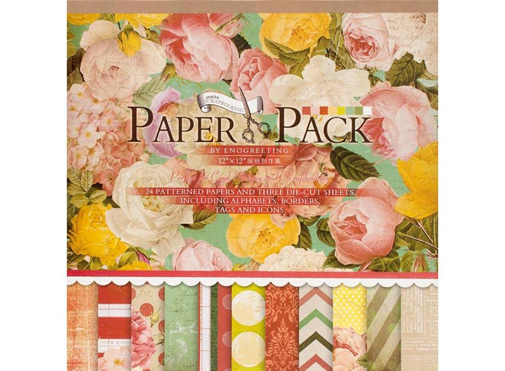 Набор бумаги «Яркие цветы»Бумага и материалы для скрапбукинга<br>Комплектация:<br><br>- 24 листа (12 видов дизайна по 2 листа);<br><br>- 3 листа с фигурной вырубкой.<br><br>Набор бумаги оформлен в виде блокнота со склейкой по одной стороне, то есть можно легковынуть любой лист из склейки или сразу вырезать из листанеобходимую фигурку...<br><br>Артикул: 027-SB<br>Размер: 30,5x30,5