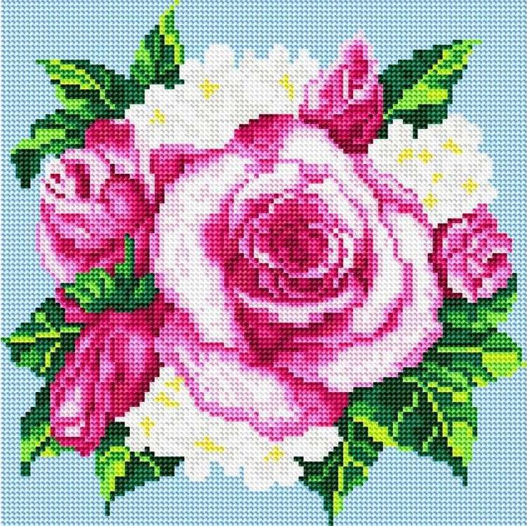 Стразы «Розовые розы»Алмазная вышивка фирмы Белоснежка<br><br><br>Артикул: 035-RS-R<br>Основа: Холст на подрамнике<br>Сложность: средние<br>Размер: 30x30 см<br>Выкладка: Полная<br>Количество цветов: 8-15<br>Тип страз: Круглые прозрачные (стеклянные)