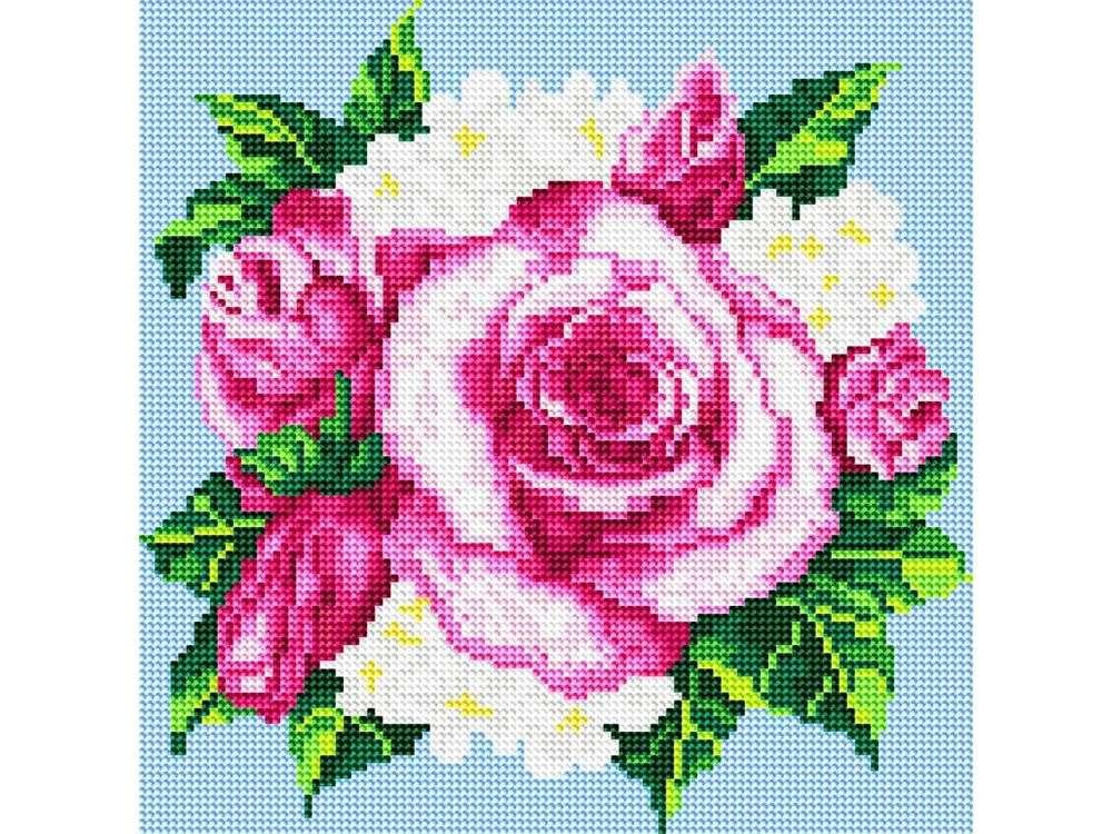 Стразы «Розовые розы»Алмазная вышивка фирмы Белоснежка<br><br><br>Артикул: 035-RS-R<br>Основа: Холст на подрамнике<br>Сложность: средние<br>Размер: 30x30<br>Выкладка: Полная<br>Количество цветов: 8-15<br>Тип страз: Круглые прозрачные (стеклянные)