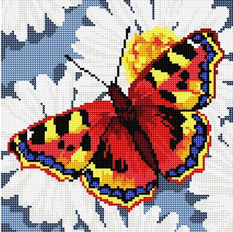 Стразы «Бабочка на ромашках»Алмазная вышивка фирмы Белоснежка<br><br><br>Артикул: 037-RS-R<br>Основа: Холст на подрамнике<br>Сложность: средние<br>Размер: 30x30 см<br>Выкладка: Полная<br>Количество цветов: 8-15<br>Тип страз: Круглые прозрачные (стеклянные)