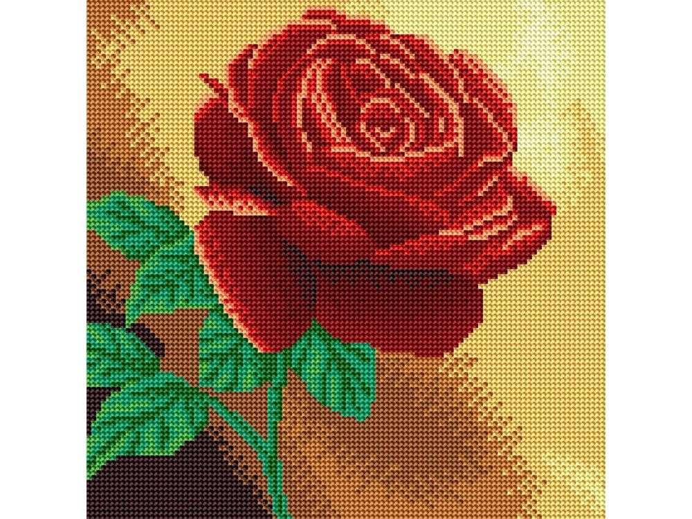 Стразы «Красная роза»Алмазная вышивка фирмы Белоснежка<br><br><br>Артикул: 038-RS-R<br>Основа: Холст на подрамнике<br>Сложность: средние<br>Размер: 30x30<br>Выкладка: Полная<br>Количество цветов: 8-15<br>Тип страз: Круглые прозрачные (стеклянные)