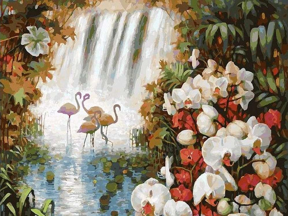 Картина по номерам «Райский сад»Картины по номерам Белоснежка<br><br><br>Артикул: 093-AS<br>Основа: Холст<br>Сложность: очень сложные<br>Размер: 30x40 см<br>Количество цветов: 38<br>Техника рисования: Без смешивания красок