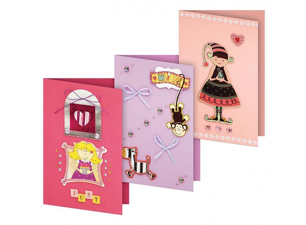 Набор для изготовления 3-х открыток «Трель»Наборы для создания открыток<br>Размер открыток: 11,5х17 см<br><br>Комплектация набора:<br> - 3 заготовки для открыток<br> - 3 конверта<br> - бумага для скрапбукинга<br> - клеевые подушечки<br> - декоративные элементы (вырубка из картона, ленты, пайетки, стразы, полубусины)<br> - инструкция по сборке открыток ...<br><br>Артикул: 101-SB<br>Размер: 11,5x17 см