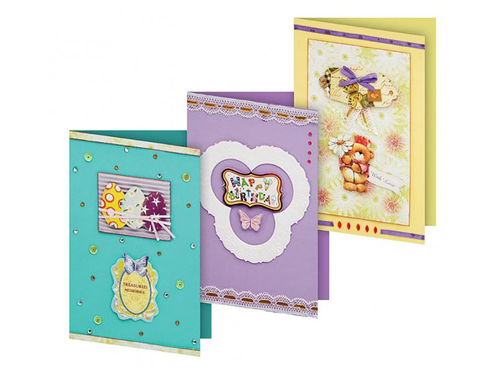 Набор для изготовления 3-х открыток «Сувенир»Наборы для создания открыток<br>Размер открыток: 11,5х17 см<br><br>Комплектация набора:<br> - 3 заготовки для открыток<br> - 3 конверта<br> - бумага для скрапбукинга<br> - клеевые подушечки<br> - декоративные элементы (вырубка из картона, ленты, пайетки, стразы, полубусины)<br> - инструкция по сборке открыток ...<br><br>Артикул: 102-SB<br>Размер: 11,5x17