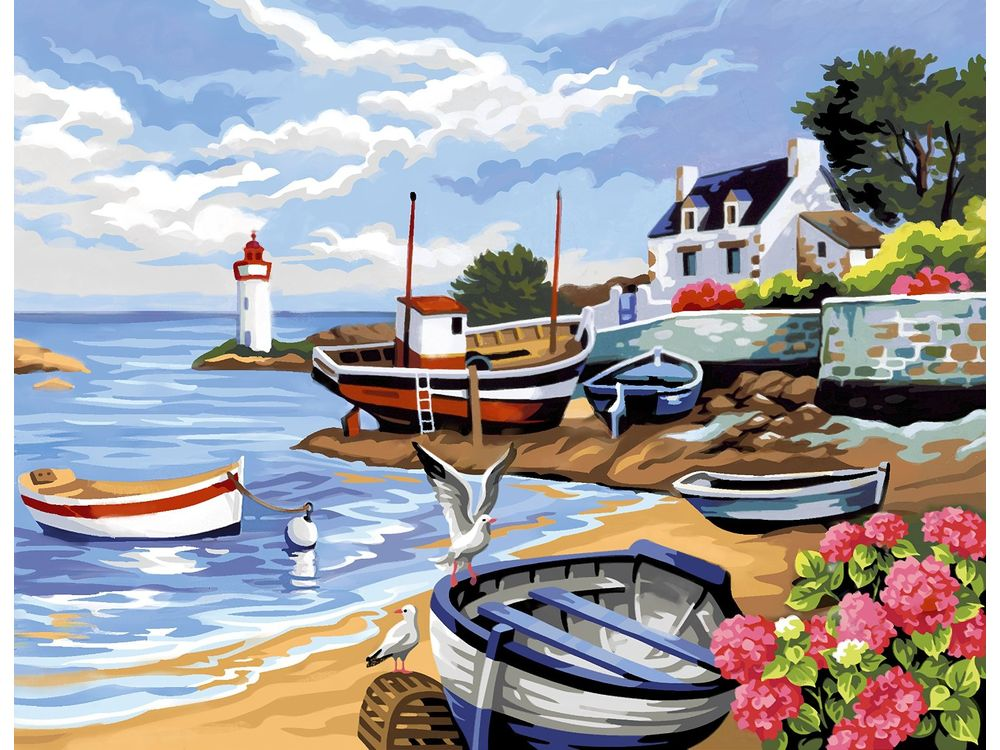 Картина по номерам «Рыбацкая деревня»