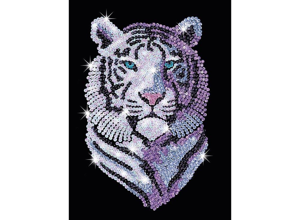 Мозаика из пайеток «Белый тигр»