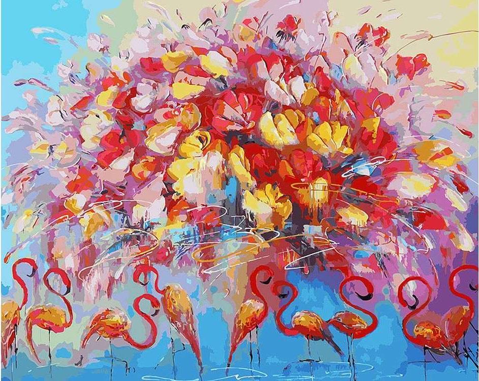 Картина по номерам «Танец красного фламинго» Лианы МоисеевойКартины по номерам Белоснежка<br><br><br>Артикул: 156-AB<br>Основа: Холст<br>Сложность: очень сложные<br>Размер: 40x50 см<br>Количество цветов: 39<br>Техника рисования: Без смешивания красок