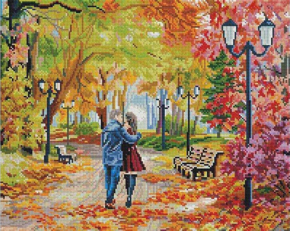 Алмазная вышивка «Осенний парк, скамейка, двое» Елены СамарскойАлмазная вышивка фирмы Белоснежка<br><br><br>Артикул: 252-ST-S<br>Основа: Холст на подрамнике<br>Сложность: сложные<br>Размер: 40x50 см<br>Выкладка: Полная<br>Количество цветов: 55<br>Тип страз: Квадратные