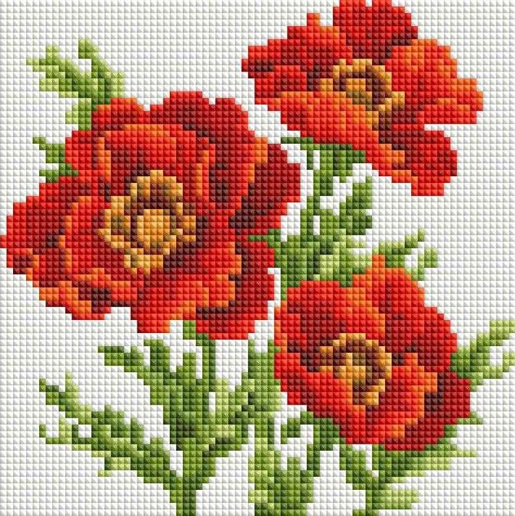 Стразы «Красные маки»Алмазная вышивка фирмы Белоснежка<br><br><br>Артикул: 322-ST-S<br>Основа: Холст на подрамнике<br>Сложность: легкие<br>Размер: 20x20 см<br>Выкладка: Полная<br>Количество цветов: 8-15<br>Тип страз: Квадратные
