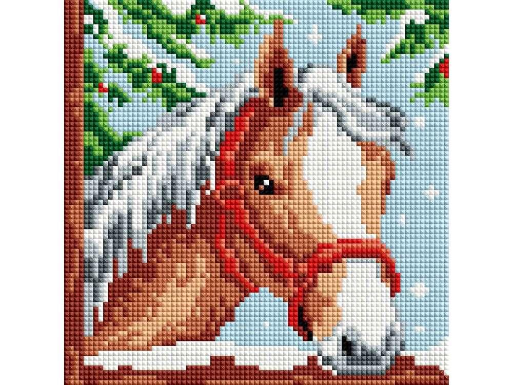 Стразы «Белогривая лошадка»Алмазная вышивка фирмы Белоснежка<br><br><br>Артикул: 326-ST-S<br>Основа: Холст на подрамнике<br>Сложность: легкие<br>Размер: 20x20<br>Выкладка: Полная<br>Количество цветов: 8-15<br>Тип страз: Квадратные