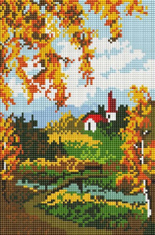 Алмазная вышивка «Осенний пейзаж»Алмазная вышивка фирмы Белоснежка<br><br><br>Артикул: 327-ST-S<br>Основа: Холст на подрамнике<br>Сложность: средние<br>Размер: 20x30 см<br>Выкладка: Полная<br>Количество цветов: 8-15<br>Тип страз: Квадратные