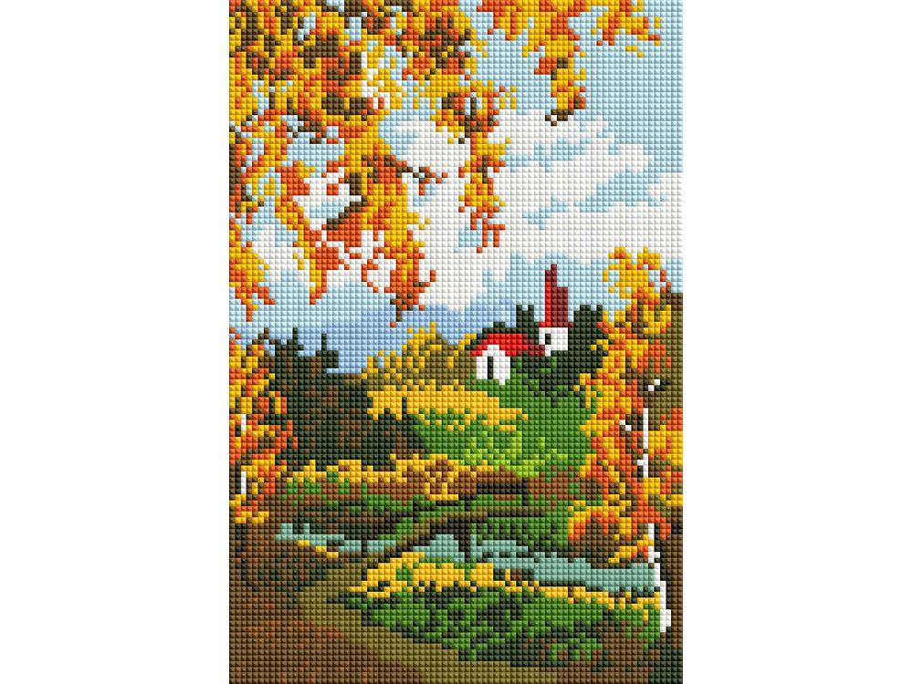 Стразы «Осенний пейзаж»Алмазная вышивка фирмы Белоснежка<br><br><br>Артикул: 327-ST-S<br>Основа: Холст на подрамнике<br>Сложность: средние<br>Размер: 20x30<br>Выкладка: Полная<br>Количество цветов: 8-15<br>Тип страз: Квадратные