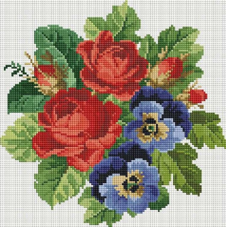 Стразы «Букет с красными розами»Алмазная вышивка фирмы Белоснежка<br><br><br>Артикул: 330-ST-S<br>Основа: Холст на подрамнике<br>Сложность: средние<br>Размер: 30x30 см<br>Выкладка: Полная<br>Количество цветов: 8-15<br>Тип страз: Квадратные