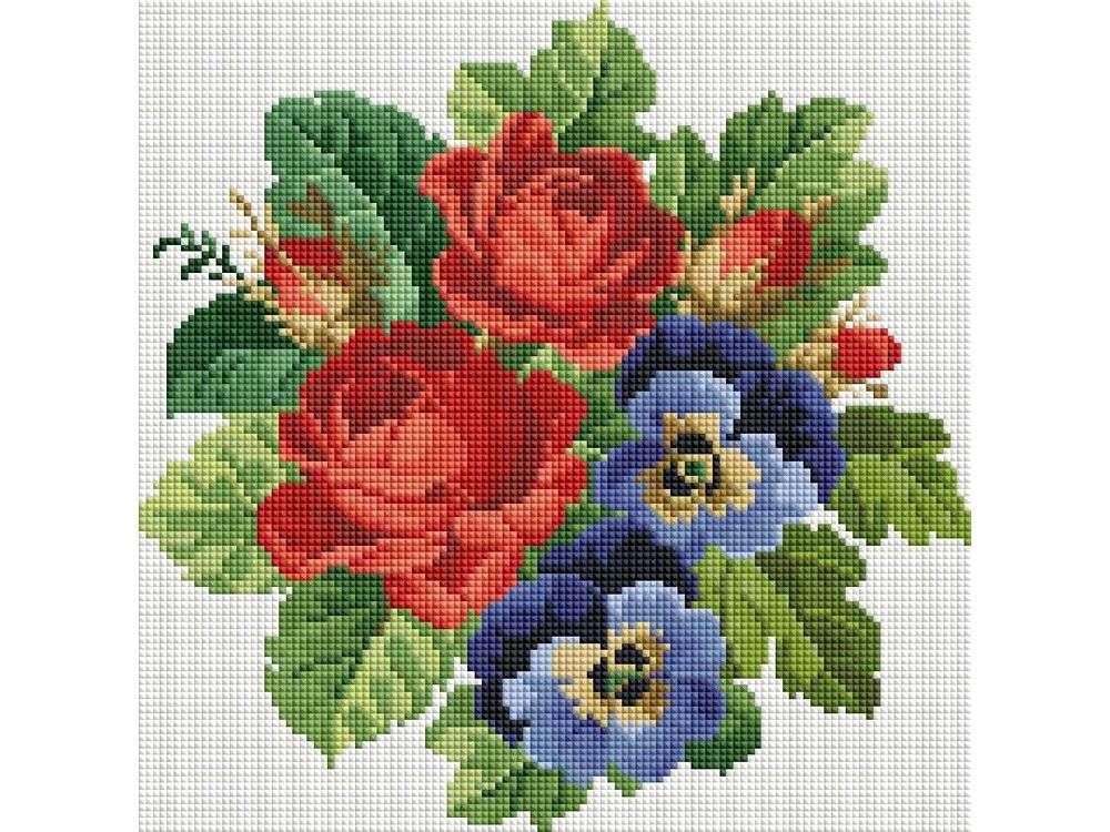 Стразы «Букет с красными розами»Алмазная вышивка фирмы Белоснежка<br><br><br>Артикул: 330-ST-S<br>Основа: Холст на подрамнике<br>Сложность: средние<br>Размер: 30x30<br>Выкладка: Полная<br>Количество цветов: 8-15<br>Тип страз: Квадратные