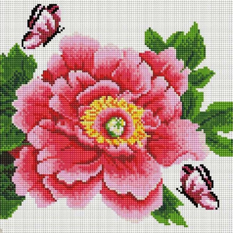 Стразы «Розовый цветок и бабочки»Алмазная вышивка фирмы Белоснежка<br><br><br>Артикул: 333-ST-S<br>Основа: Холст на подрамнике<br>Сложность: средние<br>Размер: 30x30 см<br>Выкладка: Полная<br>Количество цветов: 8-15<br>Тип страз: Квадратные
