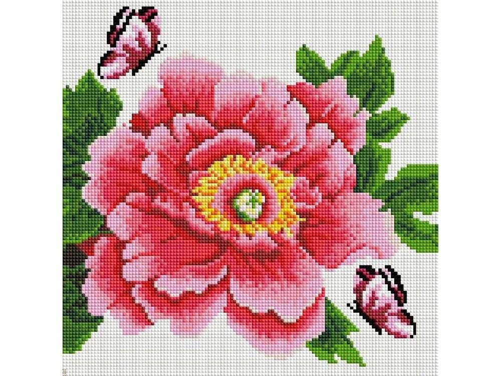 Стразы «Розовый цветок и бабочки»Алмазная вышивка фирмы Белоснежка<br><br><br>Артикул: 333-ST-S<br>Основа: Холст на подрамнике<br>Сложность: средние<br>Размер: 30x30<br>Выкладка: Полная<br>Количество цветов: 8-15<br>Тип страз: Квадратные