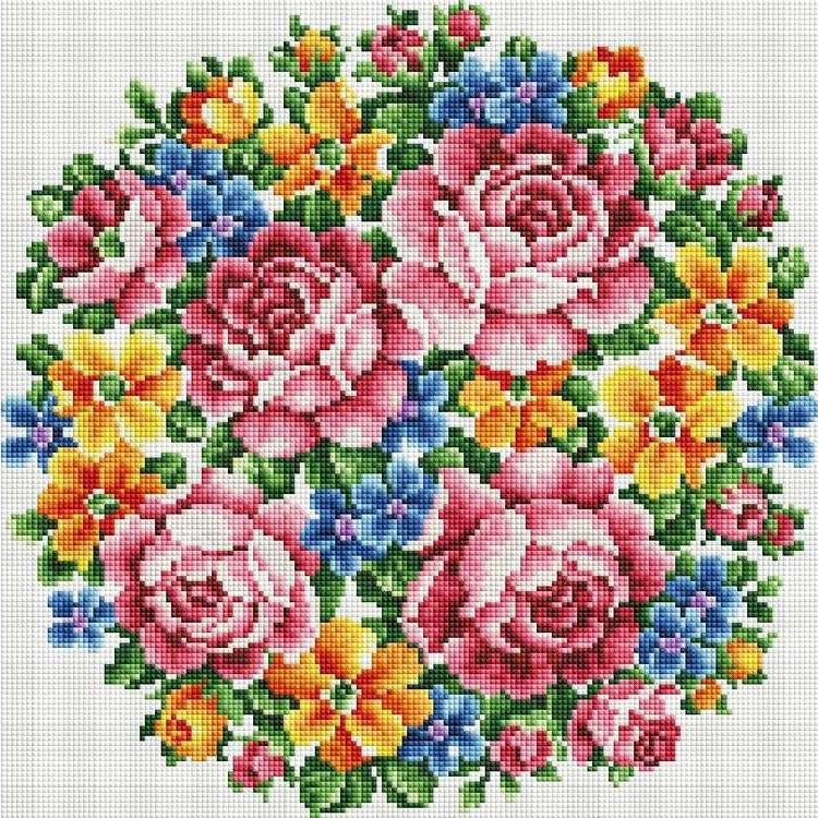 Стразы «Букет Большое счастье»Алмазная вышивка фирмы Белоснежка<br><br><br>Артикул: 335-ST-S<br>Основа: Холст на подрамнике<br>Сложность: сложные<br>Размер: 40x40 см<br>Выкладка: Полная<br>Количество цветов: 8-15<br>Тип страз: Квадратные