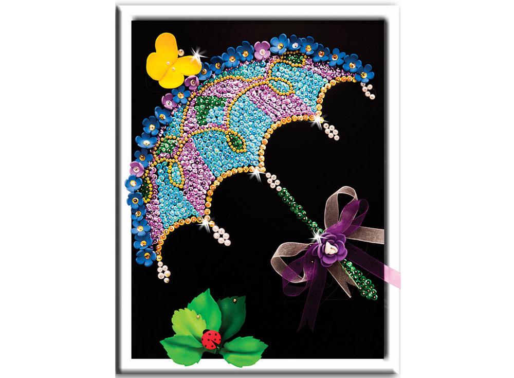 Мозаика из пайеток «Зонтик»Мозаика из пайеток<br>Набор мозаики из пайеток содержит все, что нужно дл творческого процесса:<br>- основу-планшет из пенопласта;<br>- фон с точечной разметкой расположени паейток по цветам;<br>- разноцветные пайетки;<br>- специальные гвоздики-булавочки;<br>- рамку дл готовой работы;<br>- и...<br><br>Артикул: 040<br>Основа: Планшет из пенопласта<br>Размер: 27x36 см<br>Возраст: от 8 лет