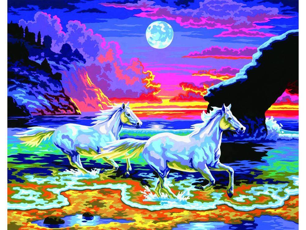 Картина по номерам «Бегущие лошади»