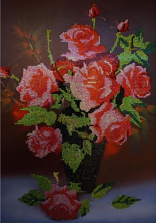 Алмазная вышивка «Букет роз»Алмазная вышивка Color Kit (Колор Кит)<br><br><br>Артикул: CK079<br>Основа: Холст на подрамнике<br>Сложность: средние<br>Размер: 40x50 см<br>Выкладка: Частичная<br>Количество цветов: 15<br>Тип страз: Круглые прозрачные (стеклянные)