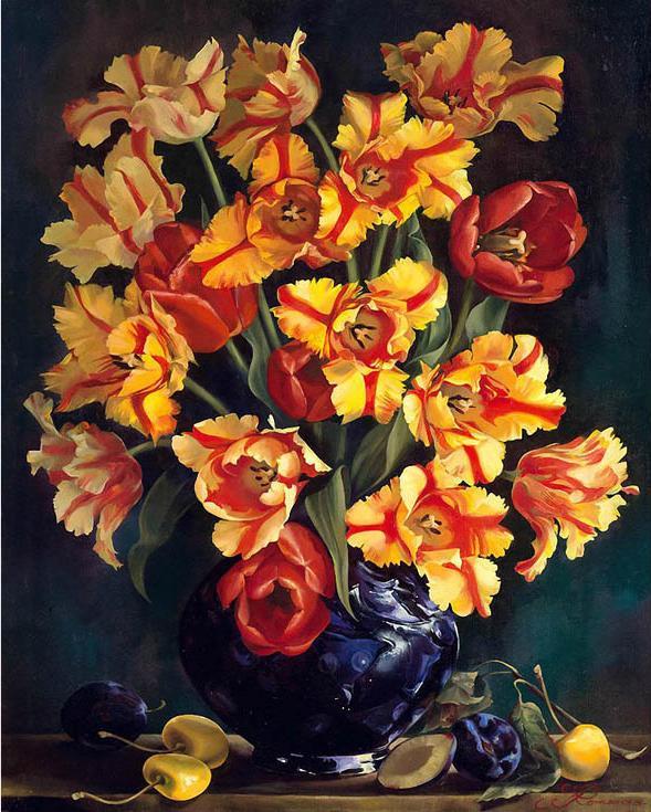 «Тюльпаны» Ирины Романовой-ЛоренцPaintboy (Premium)<br><br><br>Артикул: GX8982<br>Основа: Холст<br>Сложность: сложные<br>Размер: 40x50<br>Количество цветов: 25<br>Техника рисования: Без смешивания красок